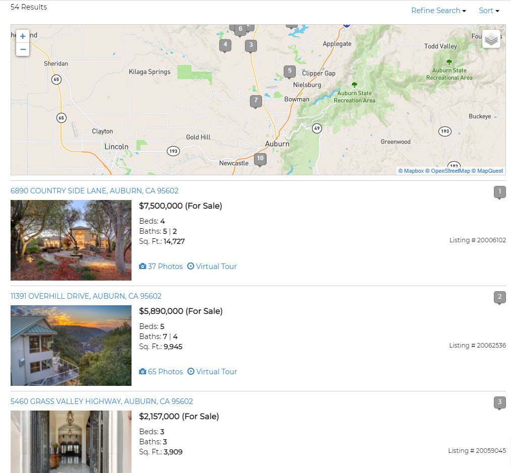 IDX Property Search Example Results with Map